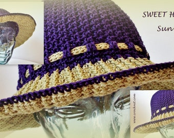 SWEET HEATHER Summer Sun Hat Crochet Pattern Wide Brim 3 sizes Toddler Child Adult