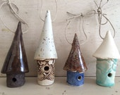 Pottery bird house ornaments - set of 4 ~ ceramic birdhouses ~ house warming gift ~ new home