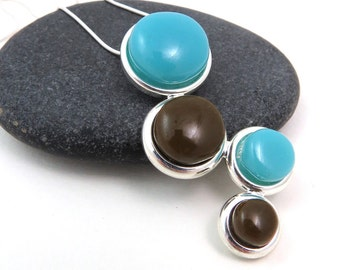 Retro Glass and Silver Necklace - Turquoise Blue and Brown Cascade Necklace