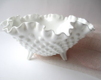 Vintage Fenton Milk Glass Hobnail Three Toed Serving Bowl, Wedding Decor, Bridal Decor