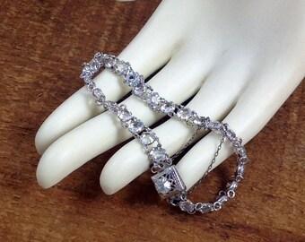 Sterling Silver Bracelet with Rhinestones, Tennis Style Bracelet