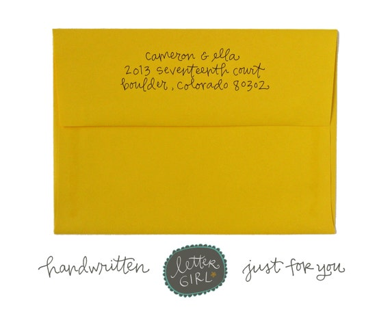 Handwritten Delight Address Stamp: your choice of self-inking or red rubber