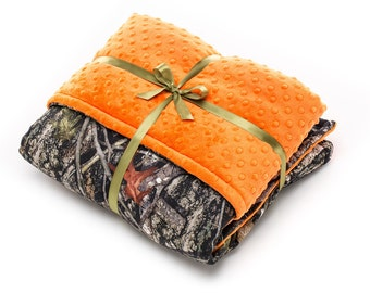 Baby Boy Crib Blanket, Baby Boy Crib Bedding, Floor Play Mat, True Timber, Real Tree, Camo, Orange Minky
