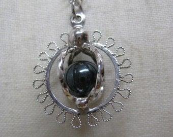 Hematite Filigree Necklace Silver Vintage Pendant