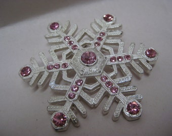 Snowflake Pink White Rhinestone Brooch Vintage Pin Winter Snow