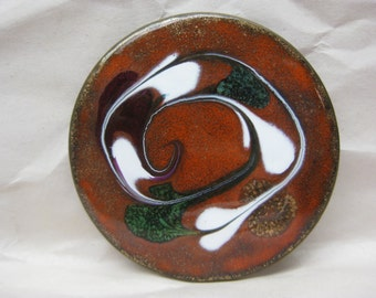 Rust White Green Brooch Copper Enamel Vintage Pin Round