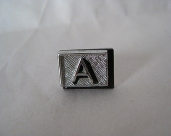 A Initial Silver Black Tie Tack Pin Vintage Swank
