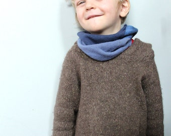 Wool Neckwarmer for Kids - Pure Merino Wool - One Size Custom Colour BLUE JAY