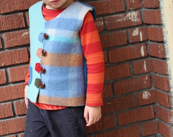 Kid's Wool Vest - Custom Made ROBIN in Size 1 to 6T