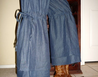 Vintage Style Samurai PANTS - Scandinavian - Lightweight Denim - Made in ANY Size - Boutique Mia