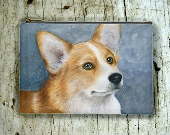 Cosmetic Bag Pouch Accessory for Purse Dog 89 Corgi painting by Lucie Dumas