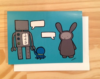 Greeting Card, Robot and Bunny Make Your Own Comic
