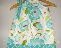 Teal Quaterfoil Halle Rose  RIley Blake fabric Flowers pillowcase handmade SIZE 4t ready to ship