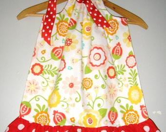 Pillowcase dress Red ruffled dots flowers Riley Blake fabric 3,6,9,12,18,months ,2t,3t,4t,5t, 6, 7, 8.9,10,12