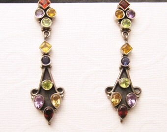 Long Sterling Earrings Colorful Jewelry E5433