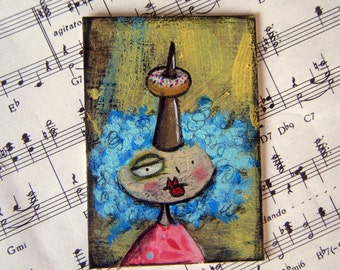 Unicorn lady with donut ACEO mixed media art card