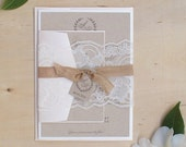 Lace Wedding Invitation, Blush Wedding Invitation, Rustic Wedding Invitation, Rustic Wedding, Summer Wedding DEPOSIT