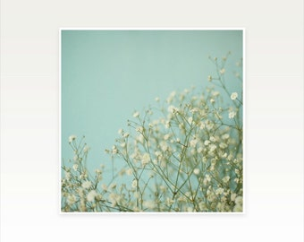 White Flower Photography, Baby's Breath Print, Pastel Blue Decor, Bedroom Art, Floral - Baby Blue