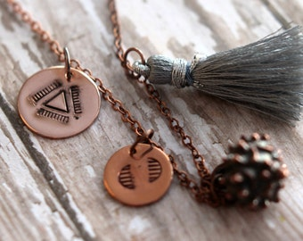 Bohemian Charm Necklace, Silver Gray, Copper Stamped, Tribal Charms, Hand Stamped, Karen Hill Tribes Copper, silver Grey Silk Tassel