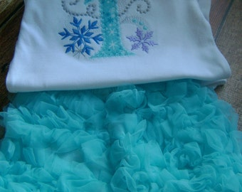 Winter Wonderland bodysuit with Chiffon Ruffled Bloomers