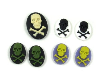Gothic Skull Cameos - Set of 7 Assorted Colors - Cream on Black, Lime Green on Purple, Black on White, Green on Black - 18x13, 25x18