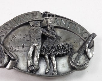 Vintage Belt Buckle Square Dancers dancers belt buckle banjo buckle violin buckle