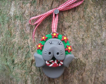 Manatee with Wreath Ornament