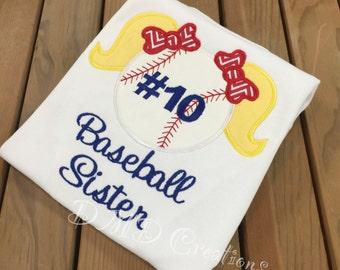 Baseball Sister Applique Shirt