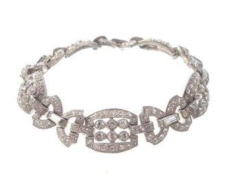 Art Deco Vintage Bracelet, Antique Rhinestone Link, Art Deco 1920s Bridal Jewelry. Art Deco Jewellery