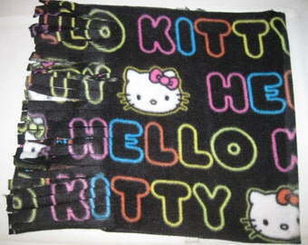 500+ Scarf Prints at SylMarCreations! * Neon Hello Kitty in Black Winter Fleece Scarf * 12 W x 58 L