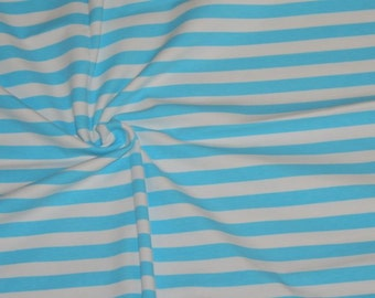 "Knit 1 yard aqua/white 1/2"" stripes"