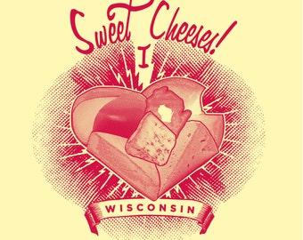 Ladies', Sweet Cheeses! I Love Wisconsin, Organic Cotton, T-shirt