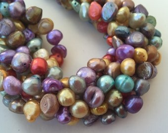 """Clearance SALE Corn Pearl Baroque Pearl Freshwater Pearl multi color blue purple yellow brown red green 7-8mm, 15"""" full strand 50+ pieces #C"""