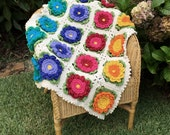Crochet Pattern Baby Blanket Afghan Pattern with Big Bright Happy Flowers for pram crib cot squares leaves bunny rug