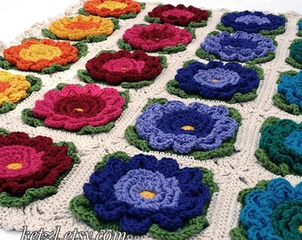 Crochet Blanket Pattern Crochet Pattern Baby Blanket Crochet flowers pattern Bright Big Flowers for pram cot crib afghan
