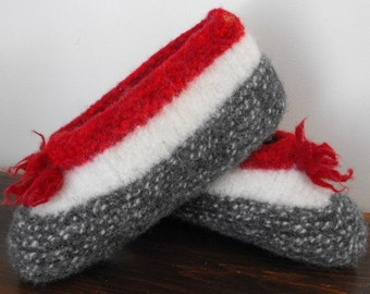 Warm Wool Felted Winter Slippers Women