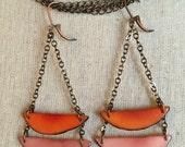 Orange and pink dangle earrings