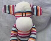 Sock monkey doll, sock monkey plush, stuffed monkey, Sockimamy Penelope a LONG multistripe sock monkey, sock animal, baby safe, nursery gift