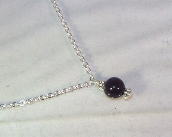 Gemstone Birthstone Necklace - Sterling Silver Filled Necklace - Black Onyx Shown