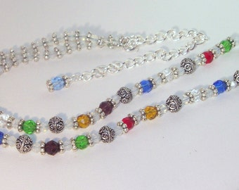Swarovksi Crystal and Silver Necklace - Rainbow and Silver Delight