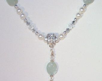 Gemstone and Swarovski Crystal and Pearl Jewelry - Aquamarine and Swarovski Crystal & Pearl Necklace