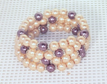 Glass Pearl Bridal Jewelry - Shown in Gold & Burgundy - Any Color - Bride, Bridesmaid, Maid of Honor, Jr Bridesmaid