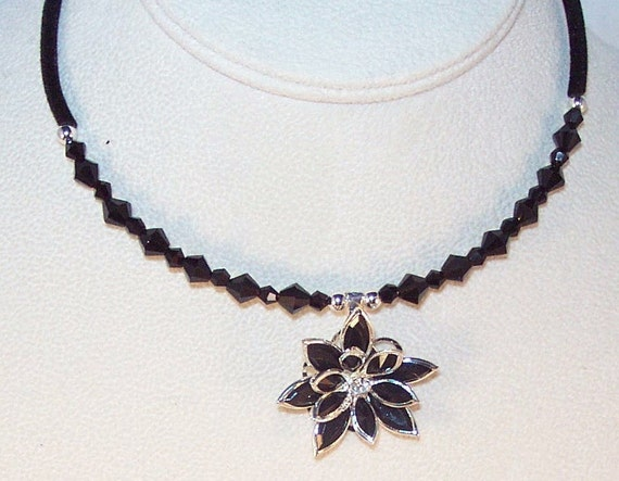Black Flower and Crystal Necklace