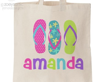 Summer beach bag flip flops personalized tote bag - choose value or heavyweight tote