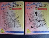 2 Vintage Aunt Matha's Martha Hot Iron Transfers Embroidery Used and New UnOpened