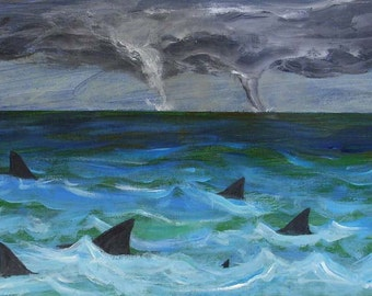 shark painting, Gulf Stream, acrylic shark painting on wood. tornado painting, ocean painting