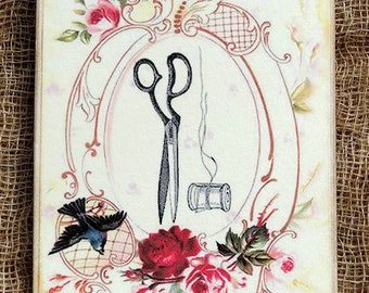 Scissors Needle Thread Sewing Tags #466