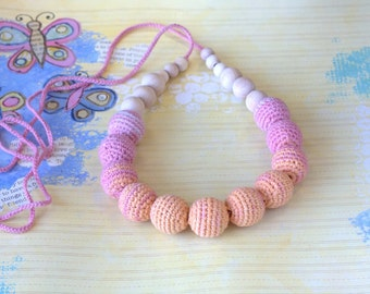 Teething  necklace nursing boho necklace-Crochet Fashion accessory- Ready to ship!