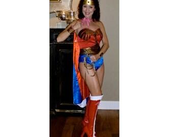 Full Wonder Woman Costume:  Corset, Tiara, Cuffs, Belt, Lasso, Choice Briefs or Shorts or Skirt (no cape)...