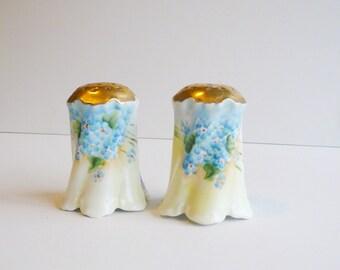 Salt Pepper Hand Painted Vintage Gold Gilt Porcelain Blue Flowers Tabletop Vintage Serving Formal